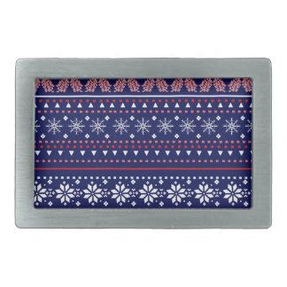 Cozy christmas pattern rectangular belt buckle