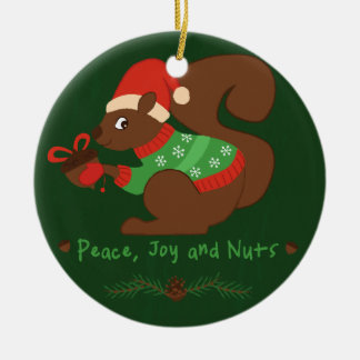 Cozy Christmas Squirrel Ceramic Ornament