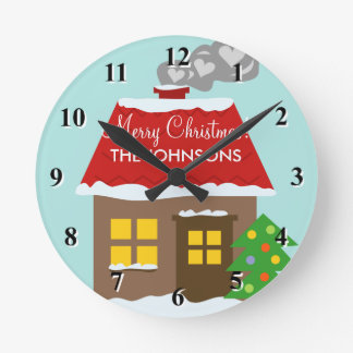 Cozy Christmas winter cabin Holiday decoration Round Clock