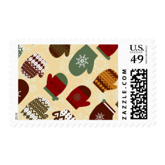 Cozy Christmas Winter Mittens Postage Stamp