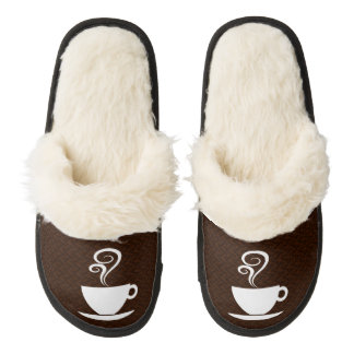 Cozy Coffee Slippers Pair Of Fuzzy Slippers