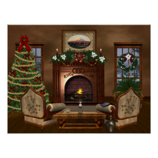 Cozy Country Christmas Poster