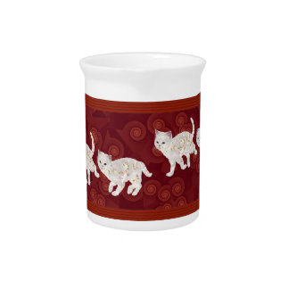 Cozy Daisy Kittens on Red Beverage Pitcher