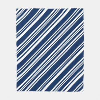 Cozy Diagonal Indigo and White Stripes Fleece Blanket