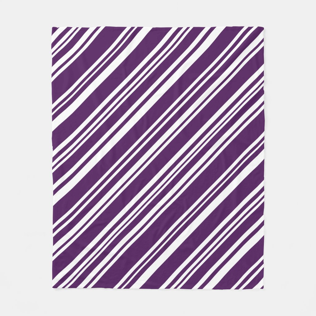 Cozy Diagonal Purple and White Stripes Fleece Blanket