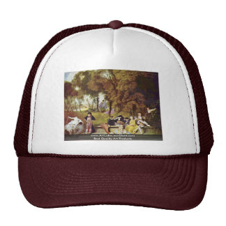 Cozy Entertainment Outdoors By Watteau Antoine Mesh Hats