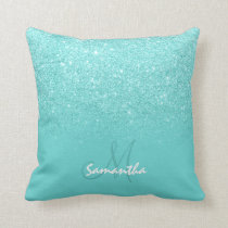 Cozy faux glitter ombre teal block personalized throw pillow