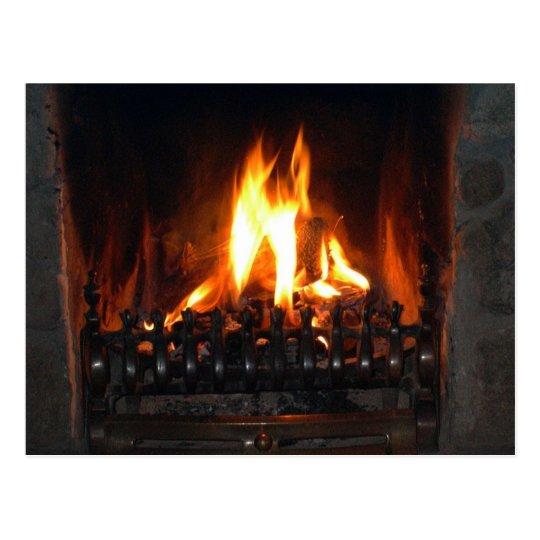 Cozy Fireplace Postcard