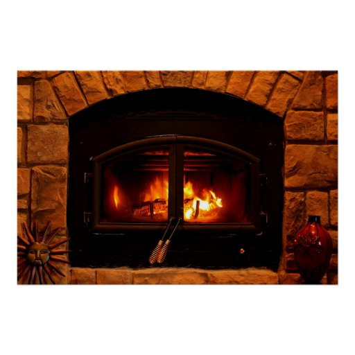 Cozy fireplace poster.