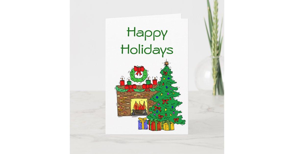 Cozy Fireplace Scene Customizable Christmas Cards   Zazzle.com