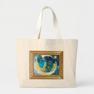 Cozy Fluffy Moon Kitty Large Tote Bag