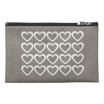 Aztec Themed Cozy Grey Cream Hearts  Bag