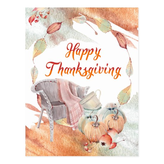 Cozy Happy Thanksgiving Autumnal Watercolors Postcard