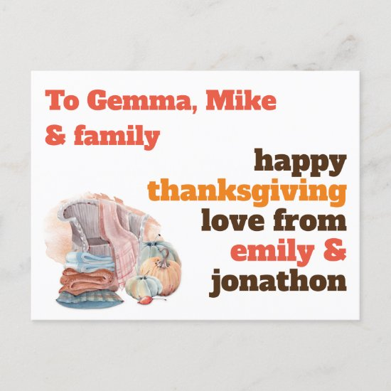Cozy Home Recipient Name Address Thanksgiving Holiday Postcard