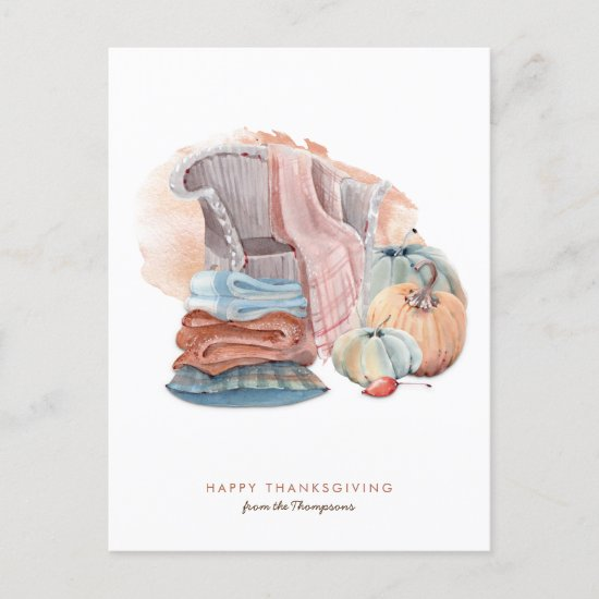 Cozy Home Thanksgiving Scene Contemporary style Holiday Postcard