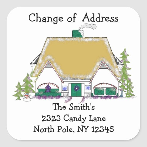 Cozy House Change of Address Square Sticker