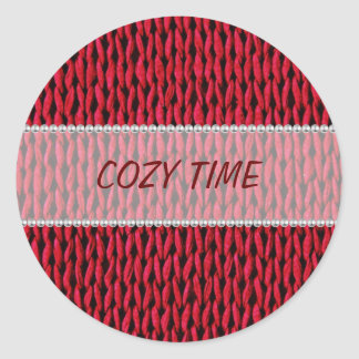 Cozy Knitted Texture Classic Round Sticker