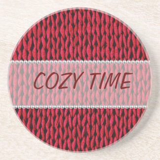 Cozy Knitted Texture Sandstone Coaster