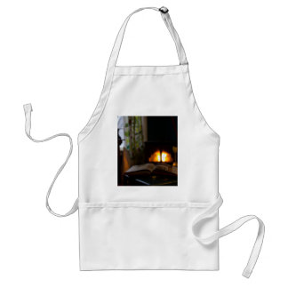 Cozy living room with fireplace and tea adult apron