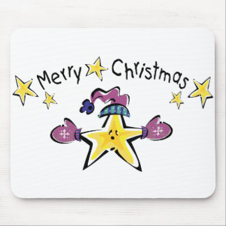 Cozy Merry Christmas Star Mouse Pads
