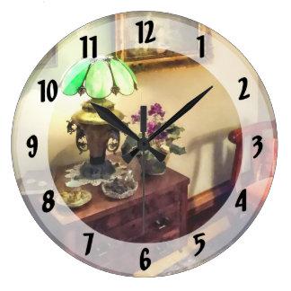 Cozy Parlor with Flower Petal Lamp Large Clock