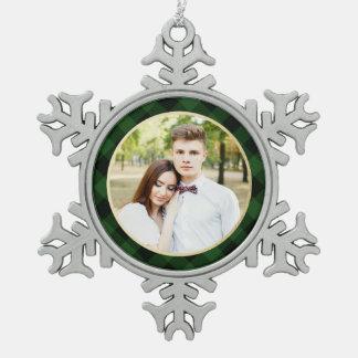 Cozy Plaid   Green and Black Buffalo Plaid Holiday Snowflake Pewter Christmas Ornament