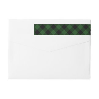 Cozy Plaid | Green and Black Buffalo Plaid Holiday Wrap Around Label