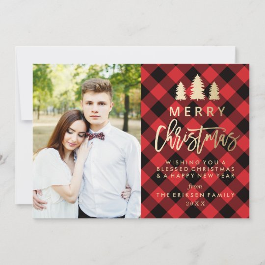 cozy plaid holiday photo card in red zazzle com