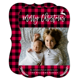 Cozy Plaid Pattern Christmas Photo Card