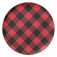 Cozy Plaid | Red and Black Buffalo Plaid Dinner Plate