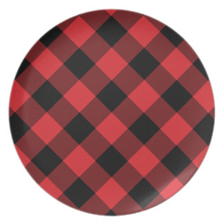 Cozy Plaid   Red and Black Buffalo Plaid Dinner Plate