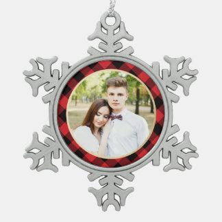 Cozy Plaid   Red and Black Buffalo Plaid Holiday Snowflake Pewter Christmas Ornament