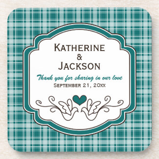 Cozy Plaid Wedding Favor Coasters Set