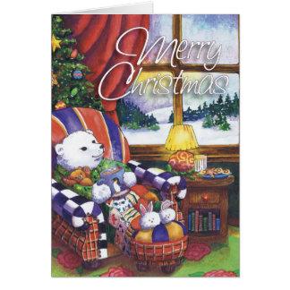 Cozy Polar Bear, Merry Christmas Card