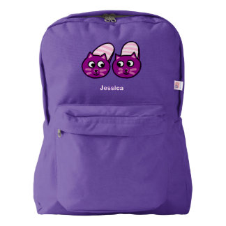 cozy purple kitty slippers backpack