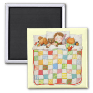 """Cozy Quilt 2"""" Square Yellow Magnet"""