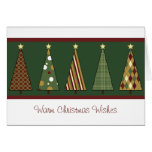 Cozy Red and Green Christmas Tree Greeting Cards