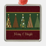 Cozy Red and Green Christmas Tree Christmas Ornaments