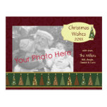 Cozy Red and Green Christmas Tree Photo Card Post Card