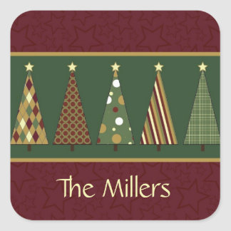 Cozy Red and Green Christmas Tree Square Sticker