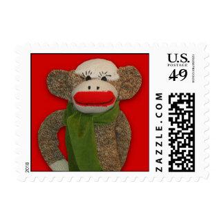 Cozy Sock Monkey Postage Stamp