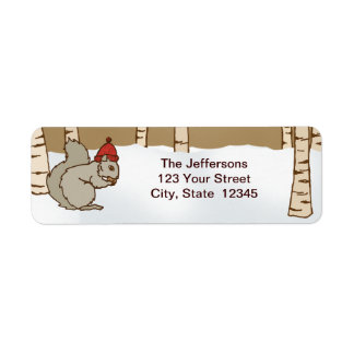 Cozy Squirrel Return Address Label
