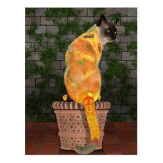 Cozy Sunflower Cat Postcard