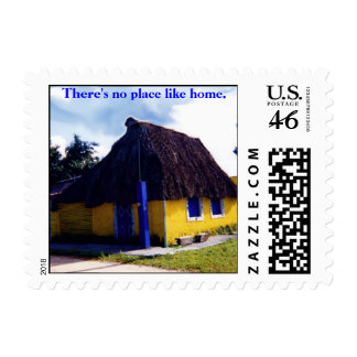 Cozy Thatched Roof  Cottage Mexico Postage