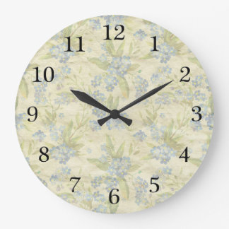 Cozy vintage floral textile Forget Me Not Wall Clocks