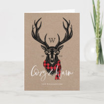 Cozy & Warm | Red Buffalo Plaid Reindeer Monogram Holiday Card