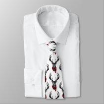 Cozy & Warm | Red Buffalo Plaid Reindeer Neck Tie
