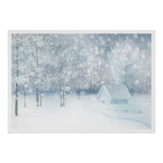 Cozy white winter wood and house poster