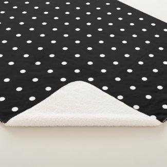 Cozy WhitePolka Dot Pattern on Black Sherpa Blanket