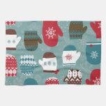 Cozy Winter Christmas Mittens Blue Hand Towel
